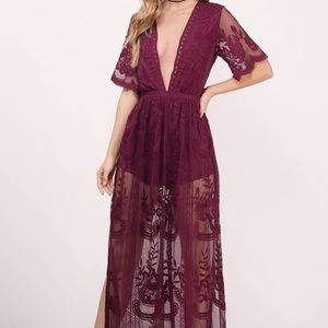 Honey Punch Maroon/Wine Lace Maxi Dress